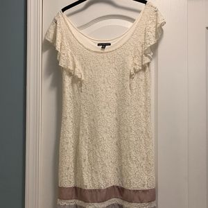 American Eagle Cream Lace Dress with Ribbon Trim